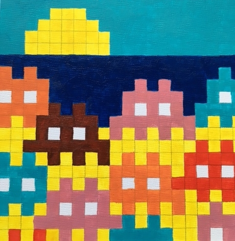 Marie Schaeller painting Beached Space Invaders.JPG
