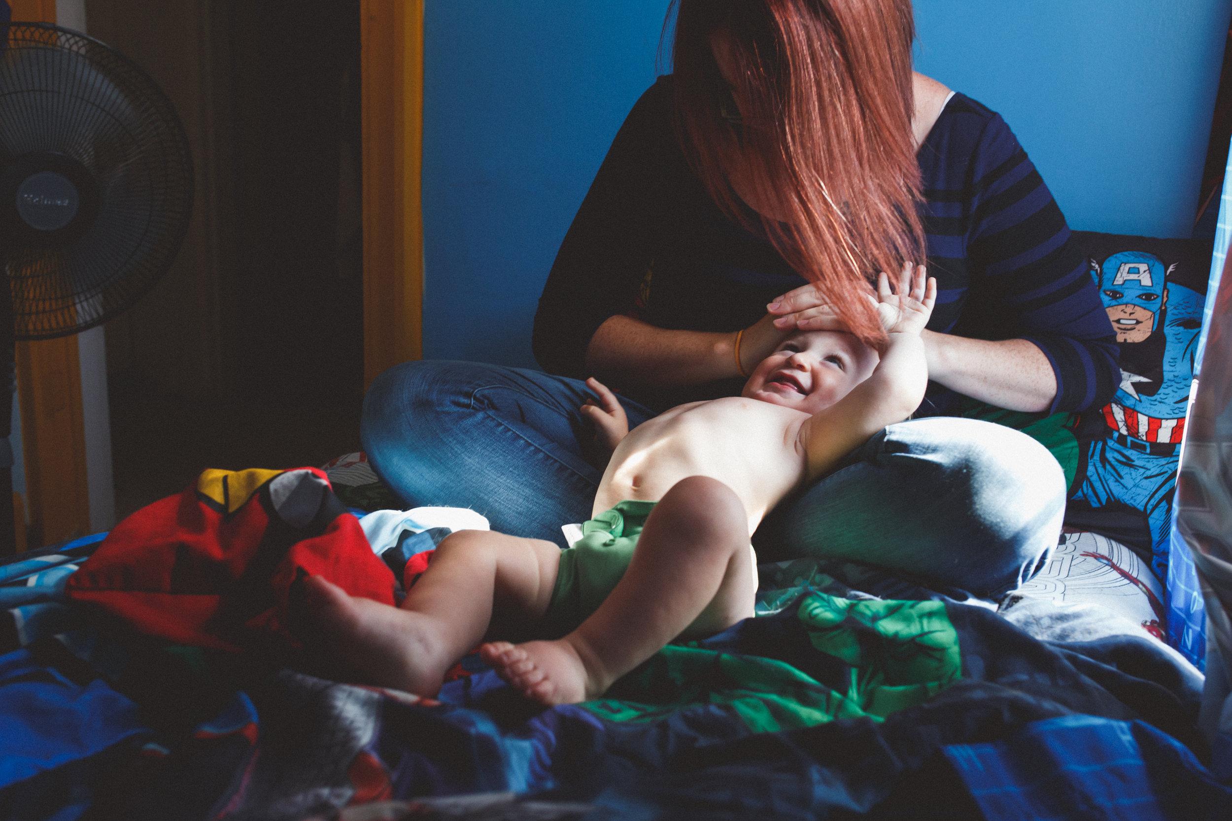 Mom loving son.