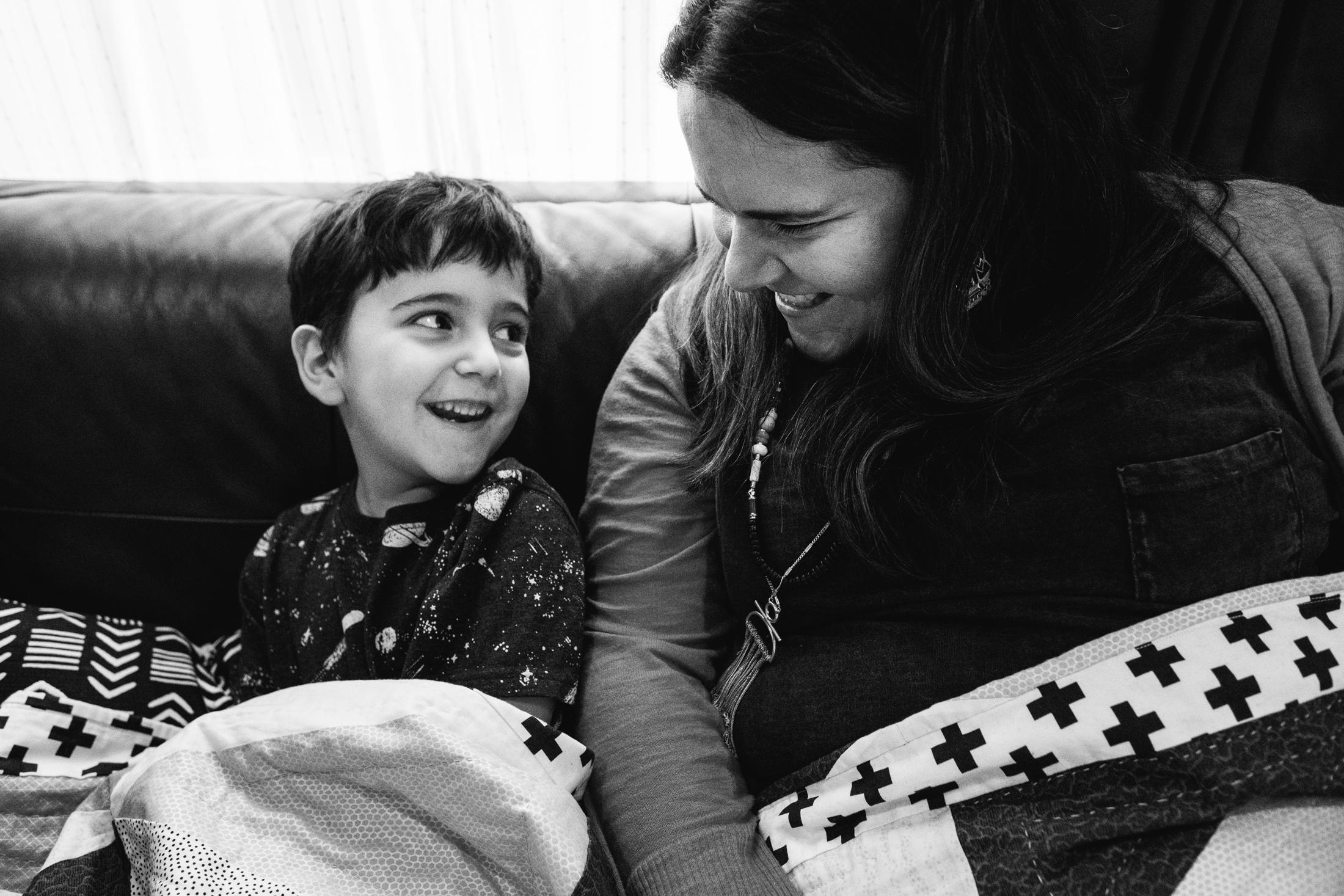 Son adoring mom. Berkley Metro Detroit Family Photographer.