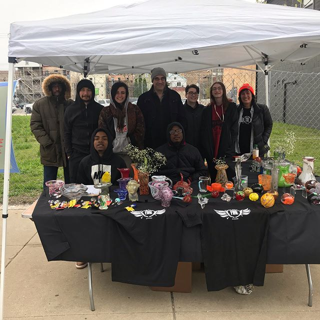 Thanks to everyone who came out and supported @projectfirechi at the #renegadecraftfair this weekend! Special shout out to our friends @taktakgoods, @taborshiles, @katedrury, and N'Kosi who were also rocking their awesome art. ❤️❤️❤️❤️❤️🔥🔥🔥 @artreachchicago, #glassblowers, #artfair #dancingintherain #chestercheeto #support