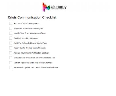 Crisis Communications Checklist