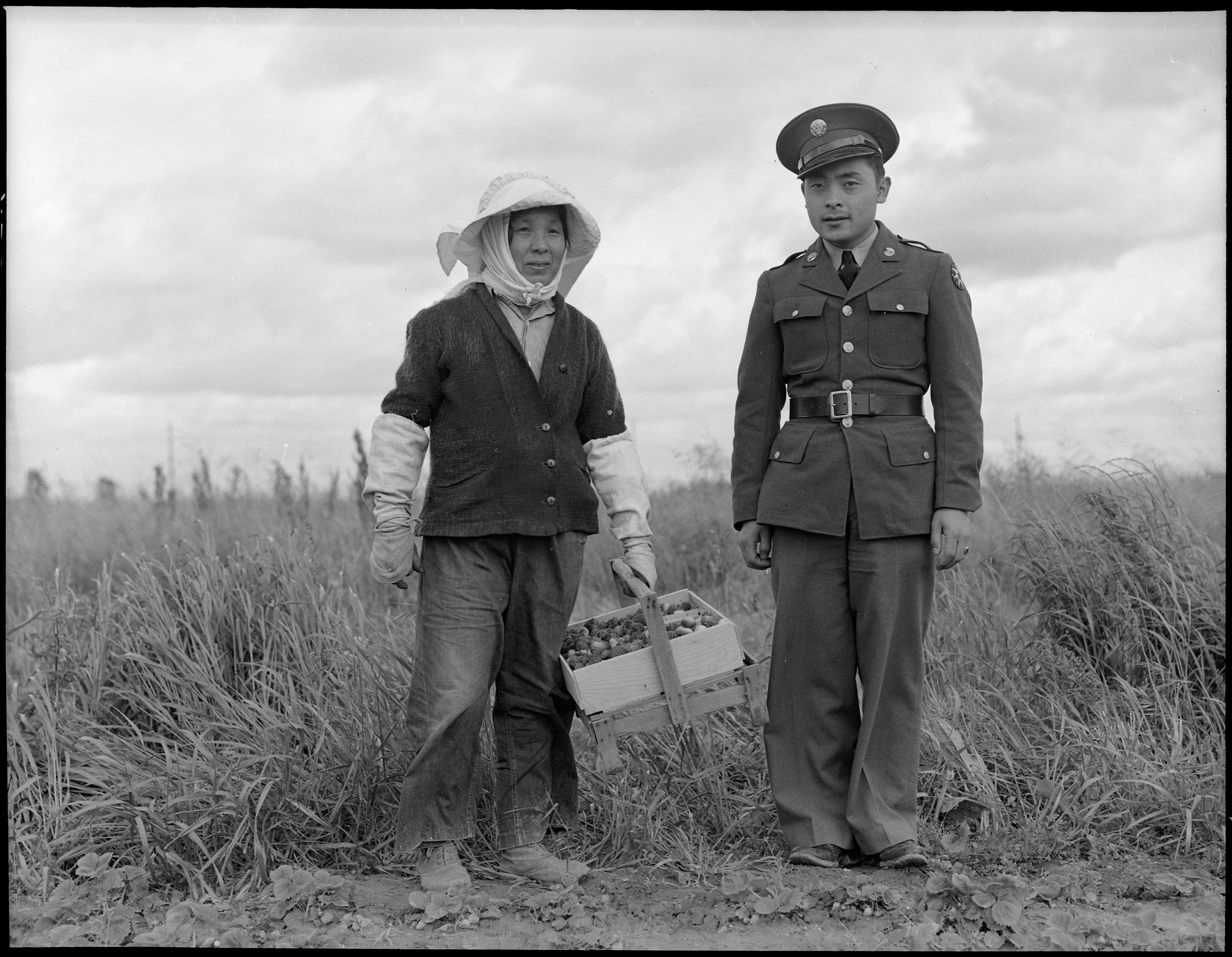 """Florin, Sacramento County, California. A soldier and his mother in a strawberry field. The soldier, age 23, volunteered July 10, 1941, and is stationed at Camp Leonard Wood, Missouri. He was furloughed to help his mother and family prepare for their evacuation. He is the youngest of six years children, two of them volunteers in United States Army. The mother, age 53, came from Japan 37 years ago. Her husband died 21 years ago, leaving her to raise six children. She worked in a strawbery basket factory until last year when her her children leased three acres of strawberries """"so she wouldn't have to work for somebody else"""". The family is Buddhist. This is her youngest son. Her second son is in the army stationed at Fort Bliss. 453 families are to be evacuated from this area."""