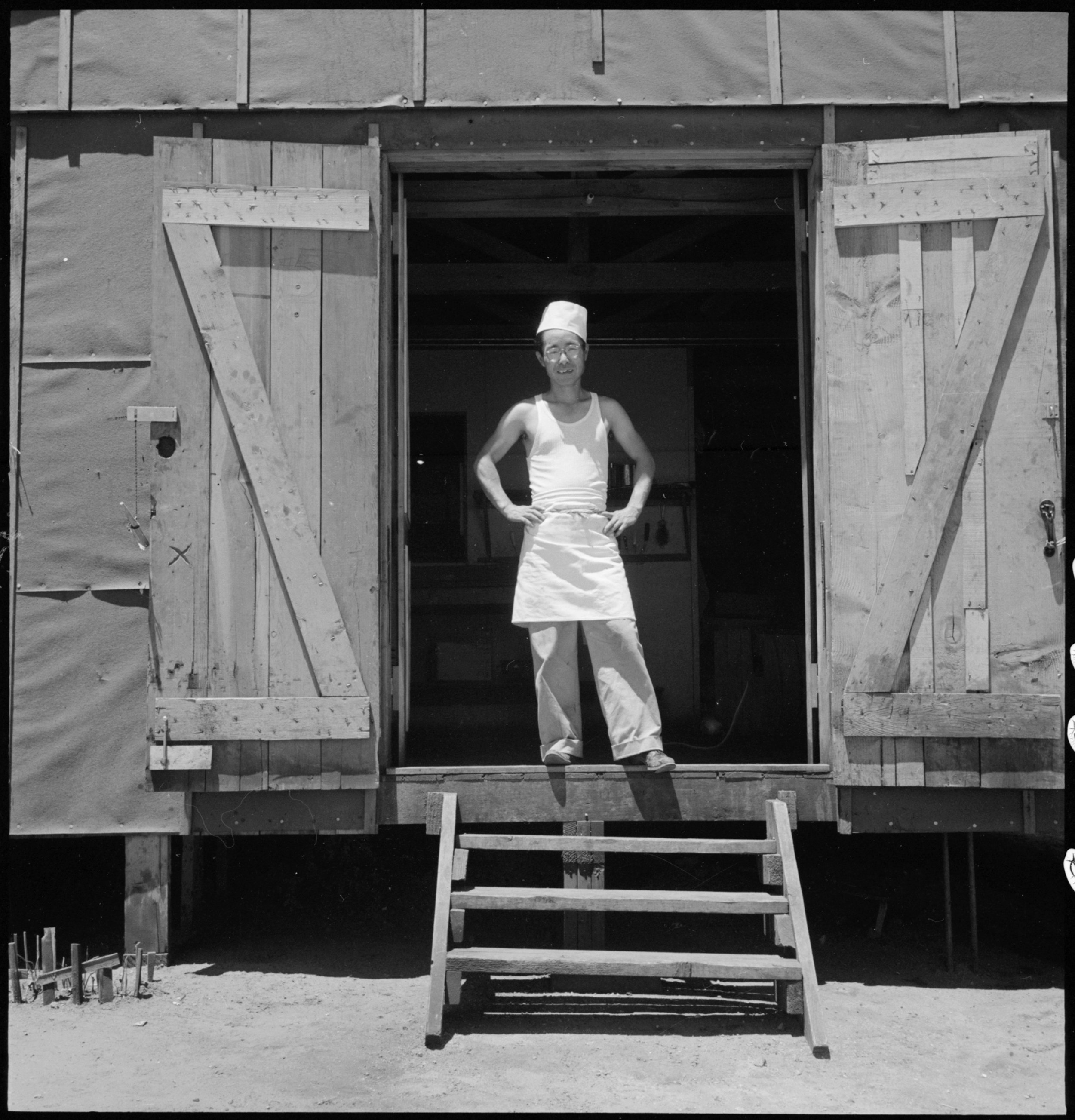 July 2, 1942 — Manzanar Relocation Center, Manzanar, California. A chef of Japanese ancestry at this War Relocation Authority center. Evacuees find opportunities to follow their callings.