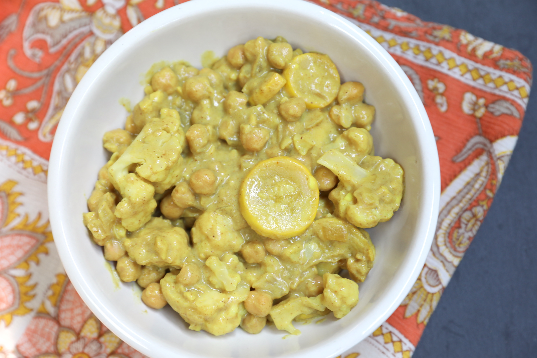 Yellow Chickpea Curry with Summer Squash & Cauliflower