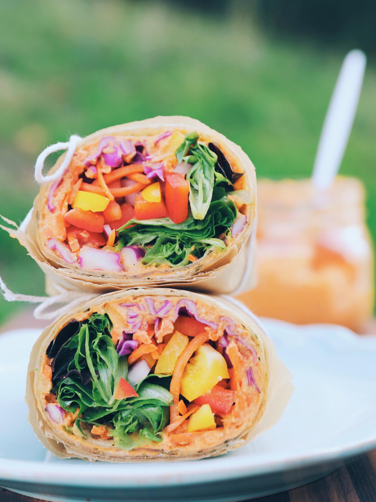 Rainbow Hummus Wrap