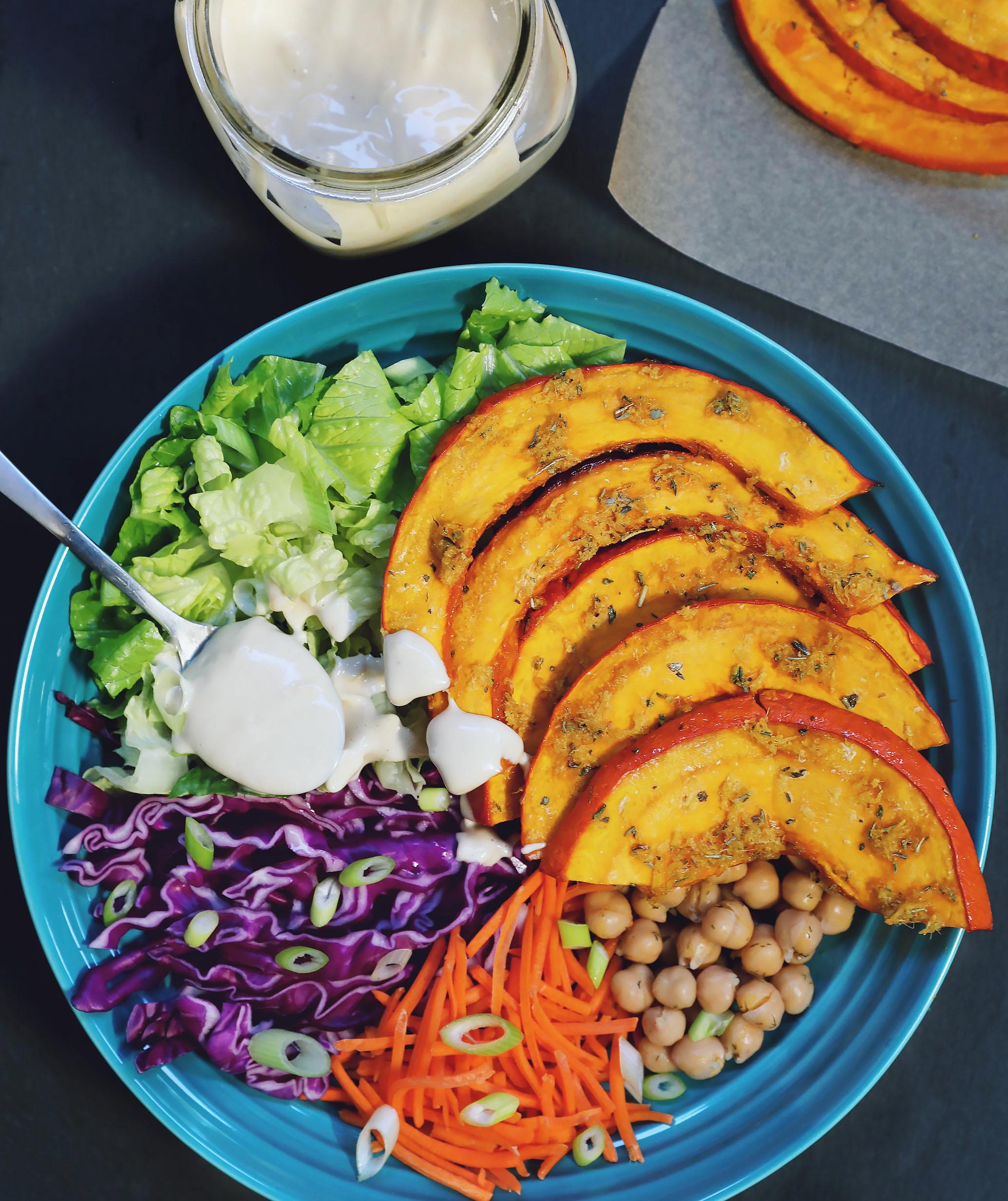 Maple Ginger Roasted Kuri Squash Salad