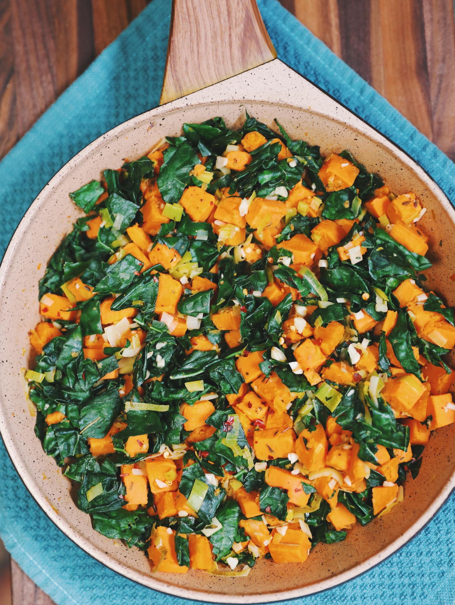 Sweet Potato Leek and Kale Hash