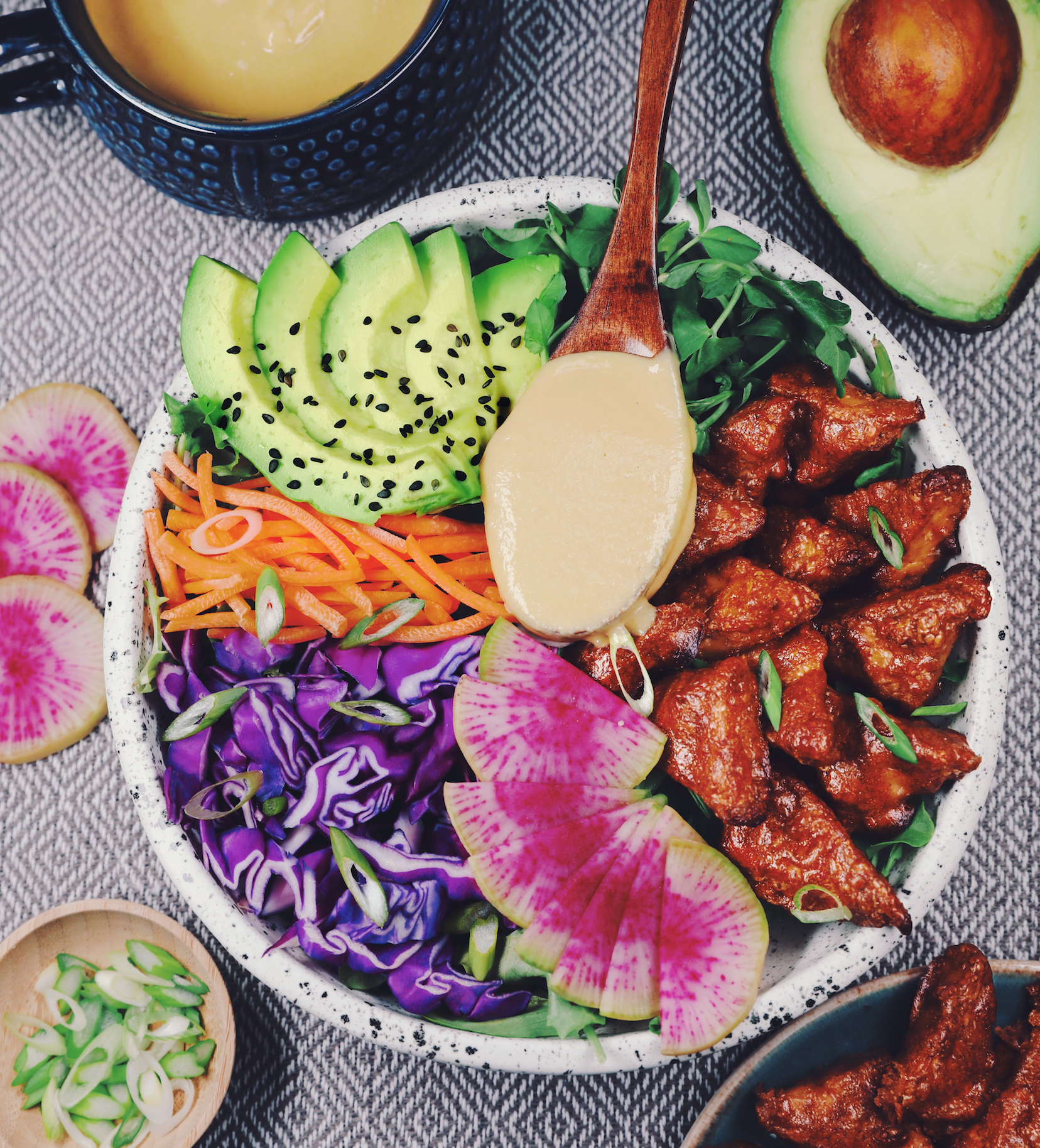 Almond Butter Tempeh Salad With Miso Ginger Dressing