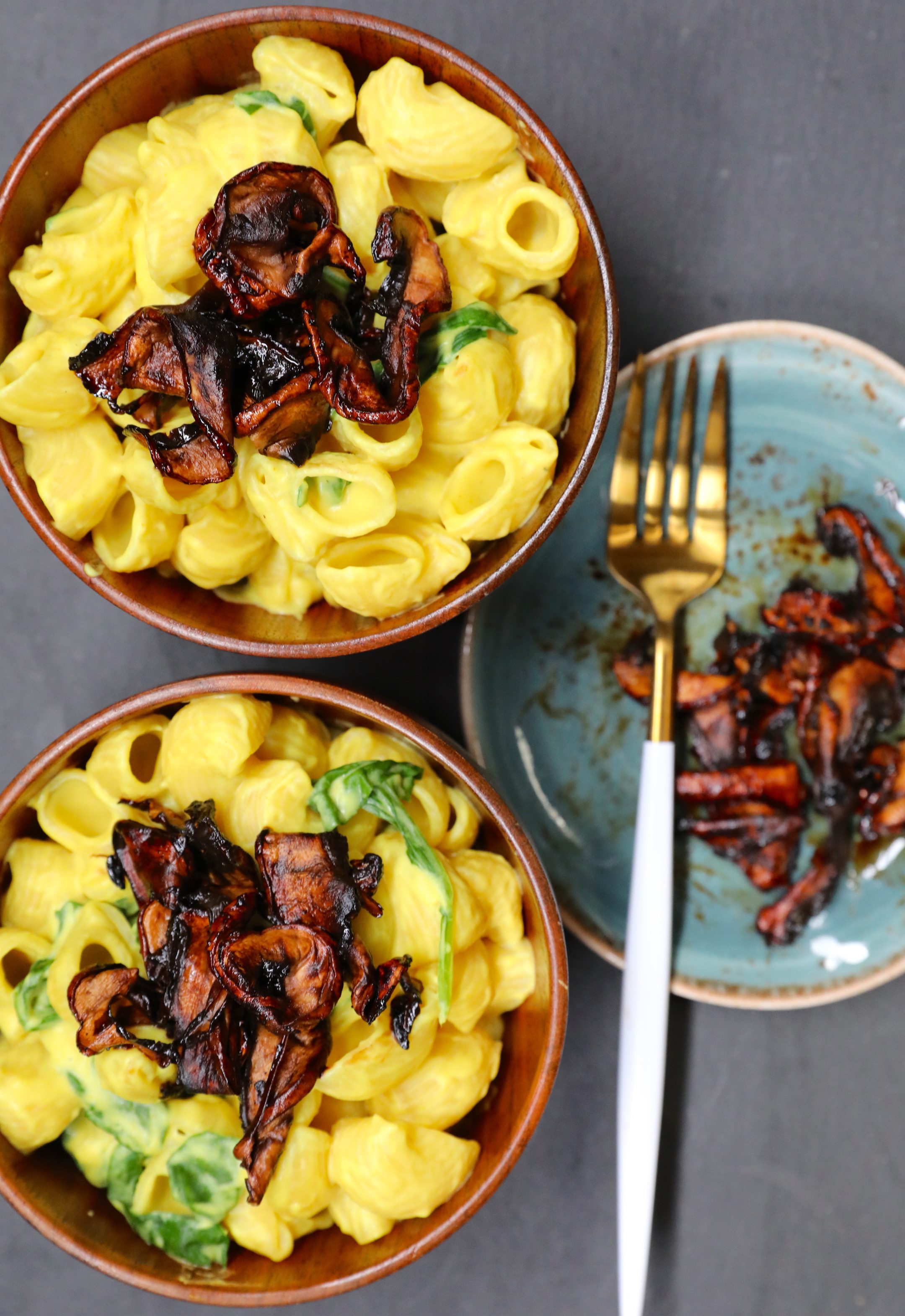 Nut-free  Vegan sweet potato Mac & Cheese  topped with mushroom bacon