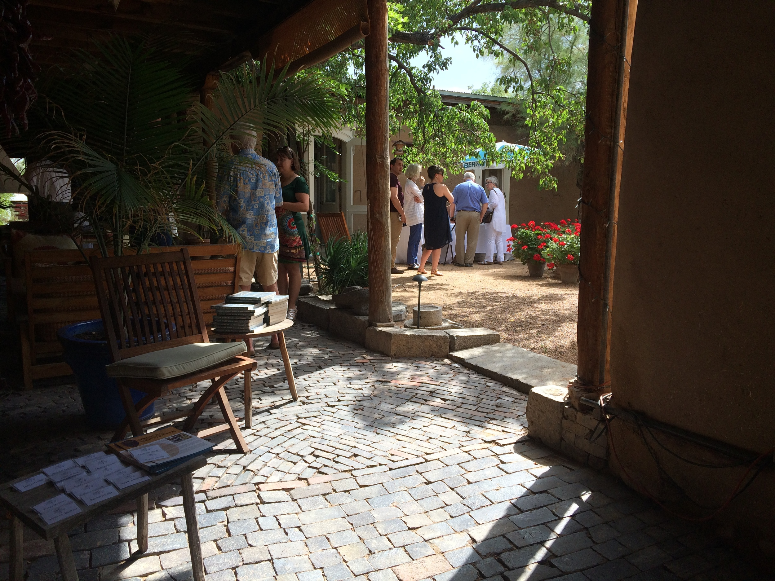 Stewards enjoying the courtyard at the Vigil House, July 2016