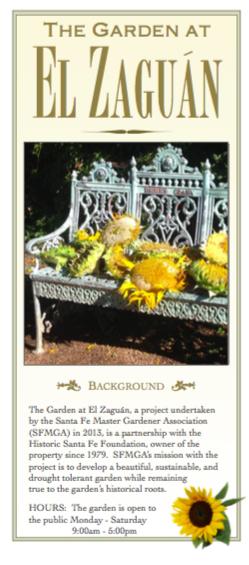 Santa Fe Master Gardeners Association (SFMGA) Brochure on El Zaguán, July 2015