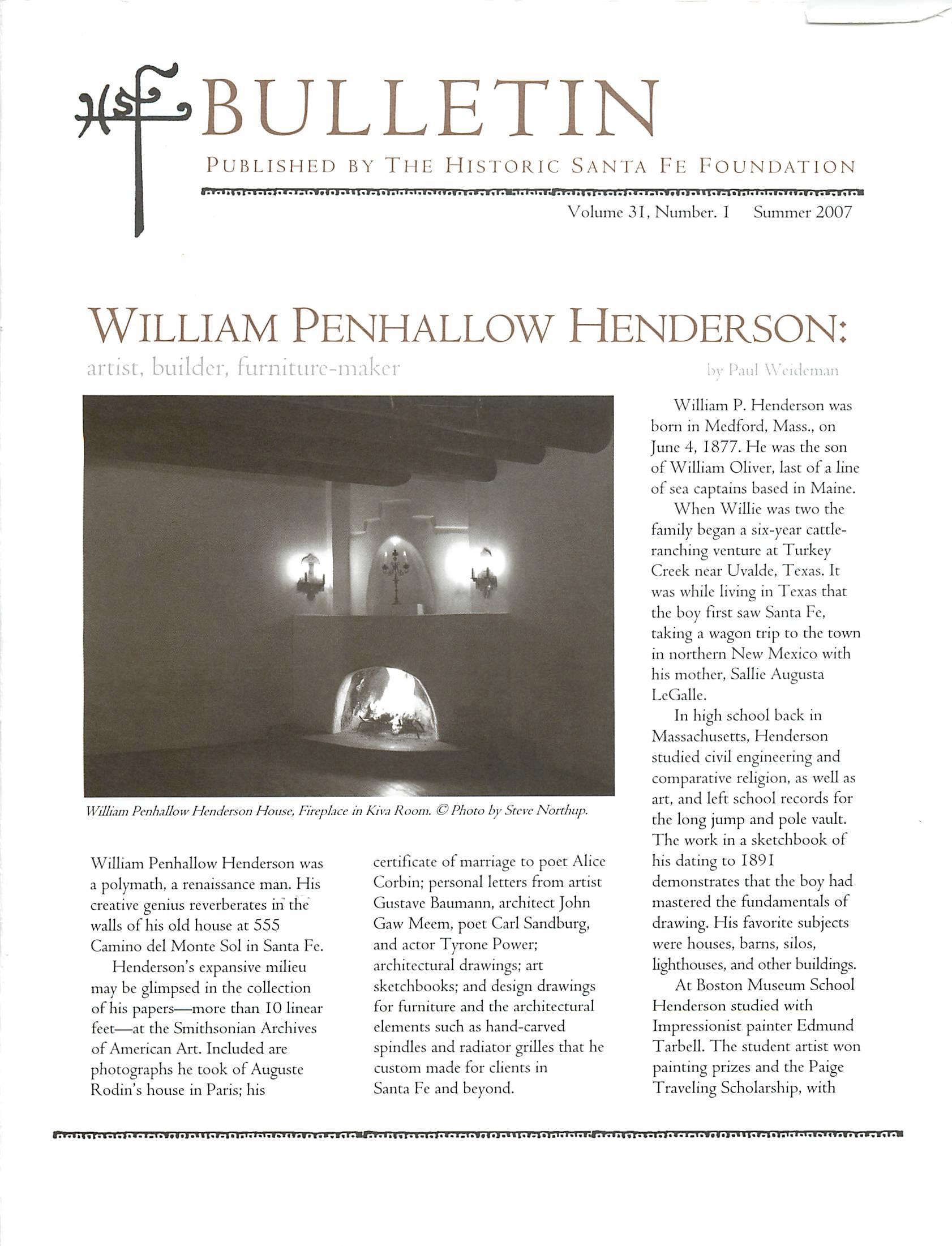 2007 HSFF Bulletin Vol.31 No.1 Cover