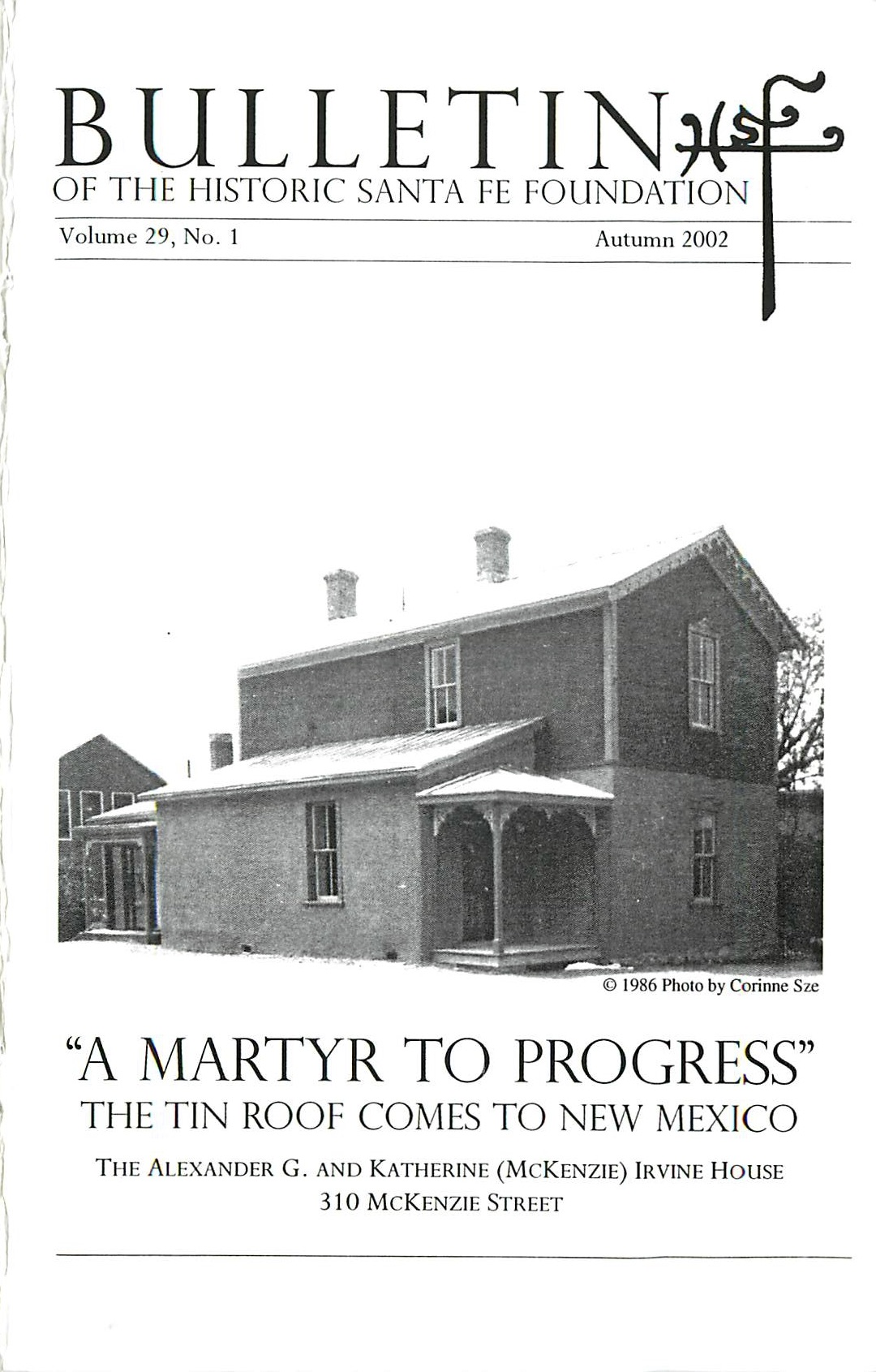 2002 HSFF Bulletin Vol.29 No.1 Cover