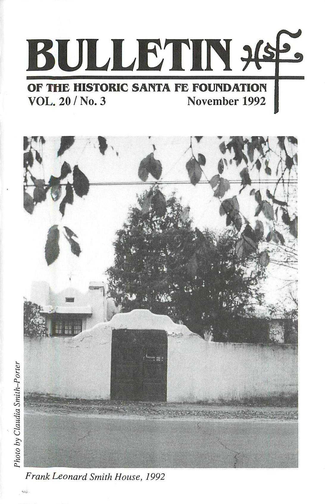 1992 HSFF Bulletin Vol.20 No.3 Cover