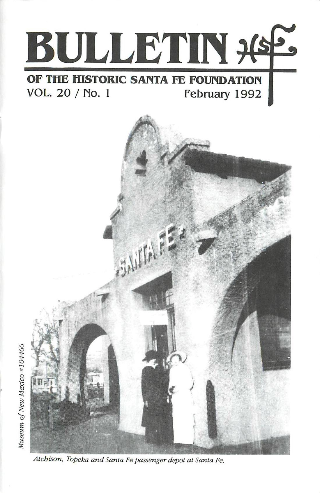 1992 HSFF Bulletin Vol.20 No.1 Cover