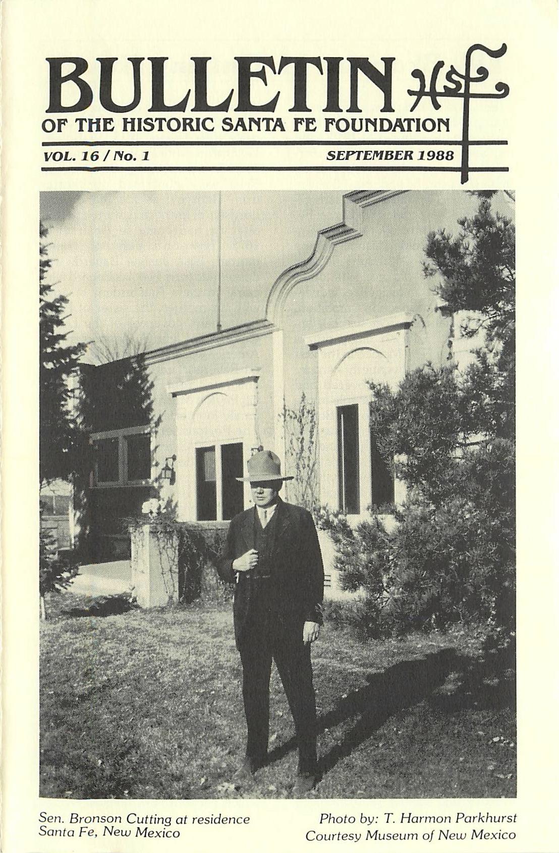 1988 HSFF Bulletin Vol.16 No.1 Cover