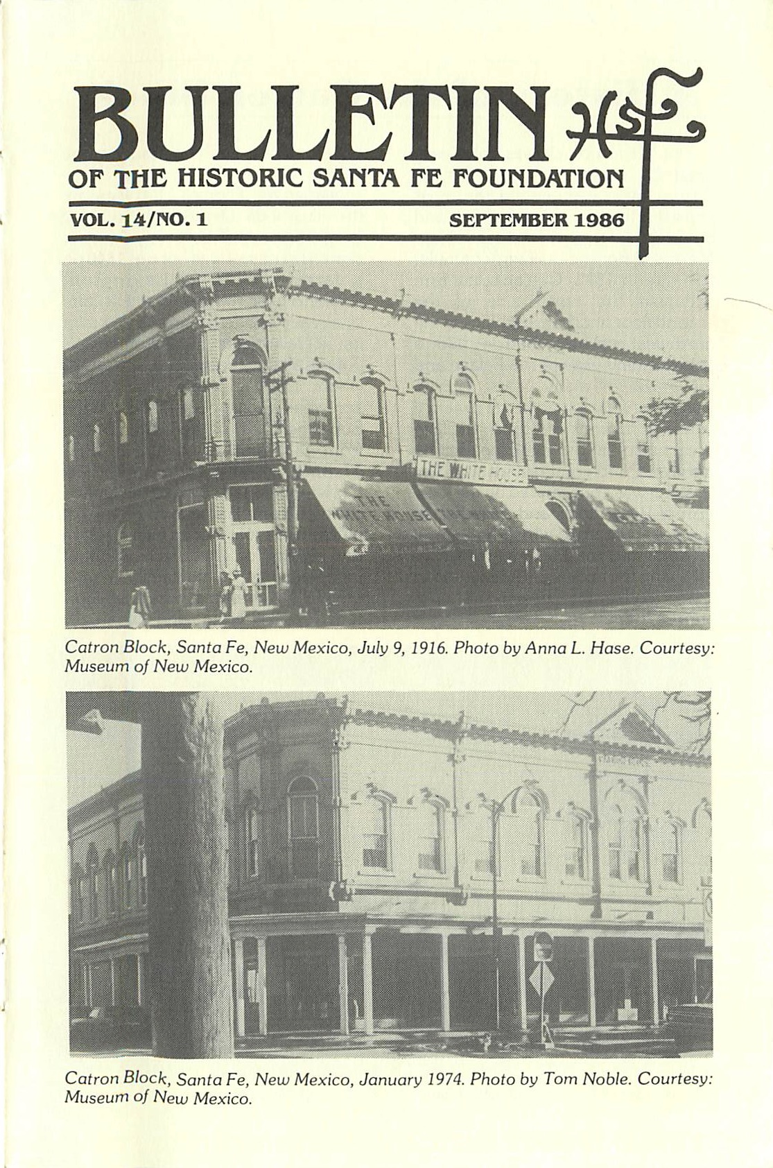 1986 HSFF Bulletin Vol.14 No.1 Cover