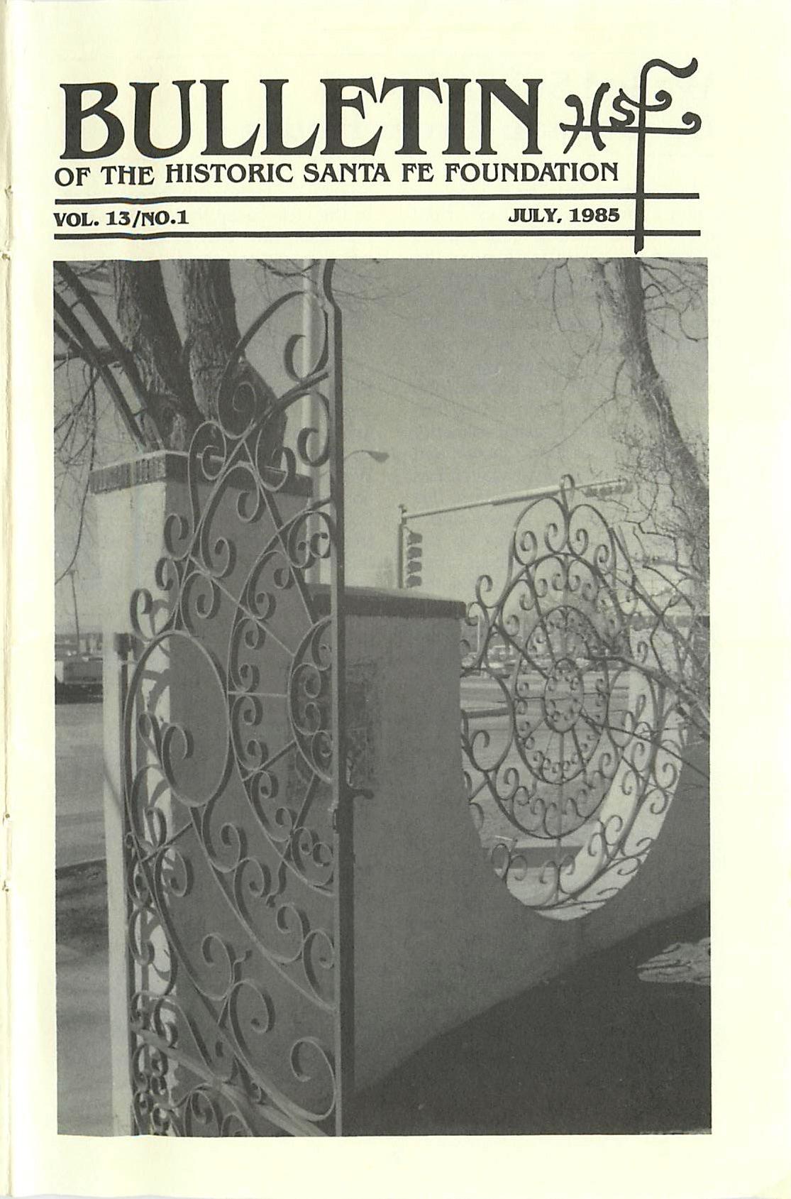 1985 HSFF Bulletin Vol.13 No.1 Cover