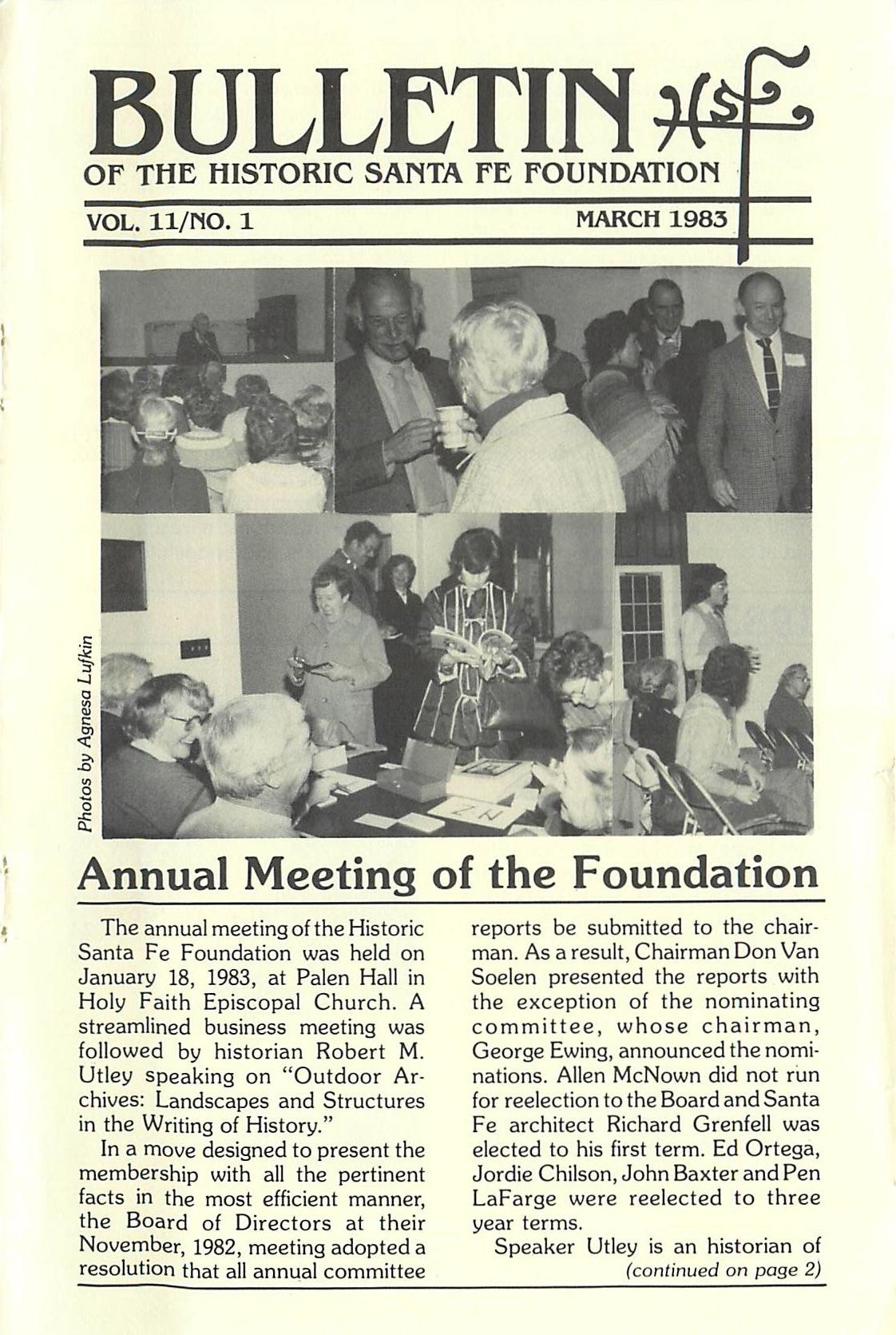 1983 HSFF Bulletin Vol.11 No.1 Cover
