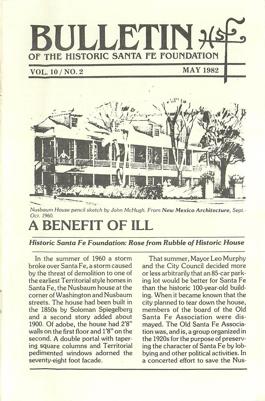 1982 HSFF Bulletin Vol.10 No.2 Cover