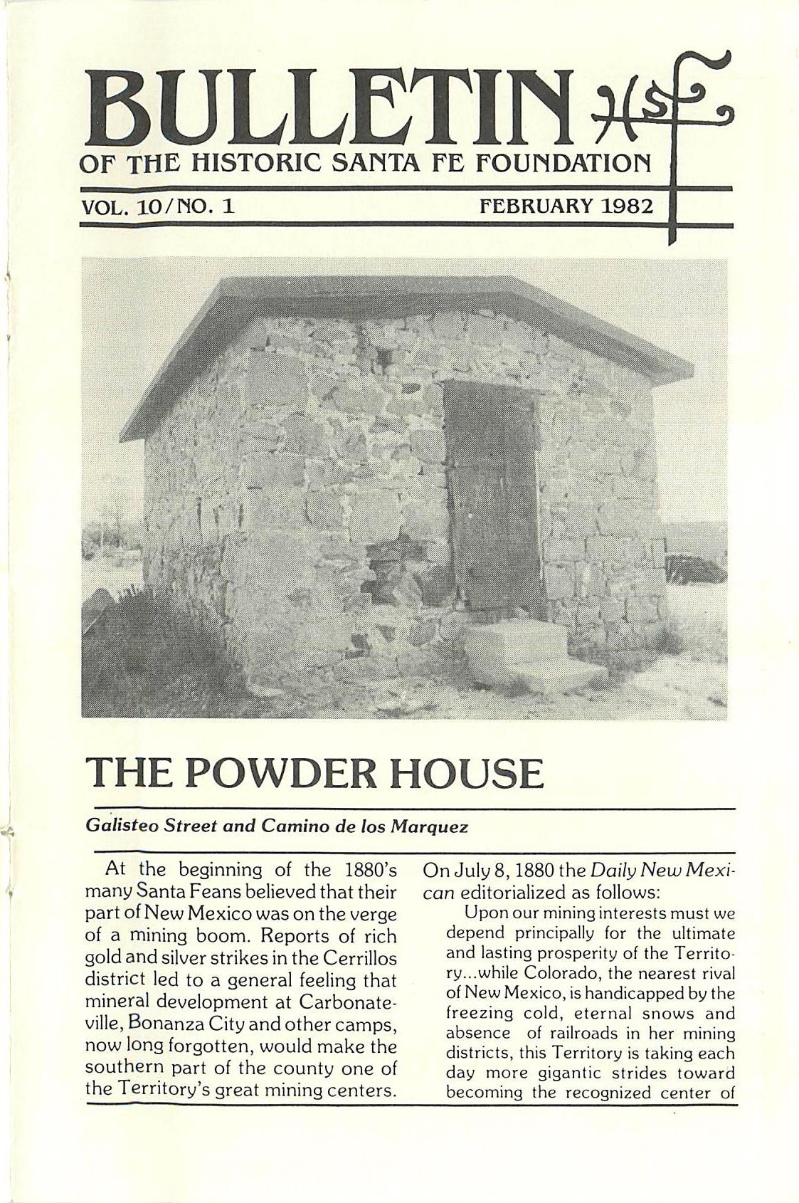 1982 HSFF Bulletin Vol.10 No.1 Cover