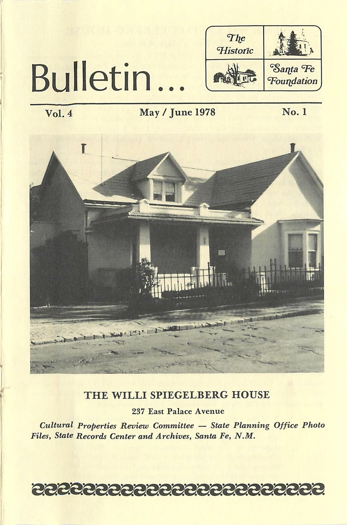 1978 HSFF Bulletin Vol.4 No.1 Cover