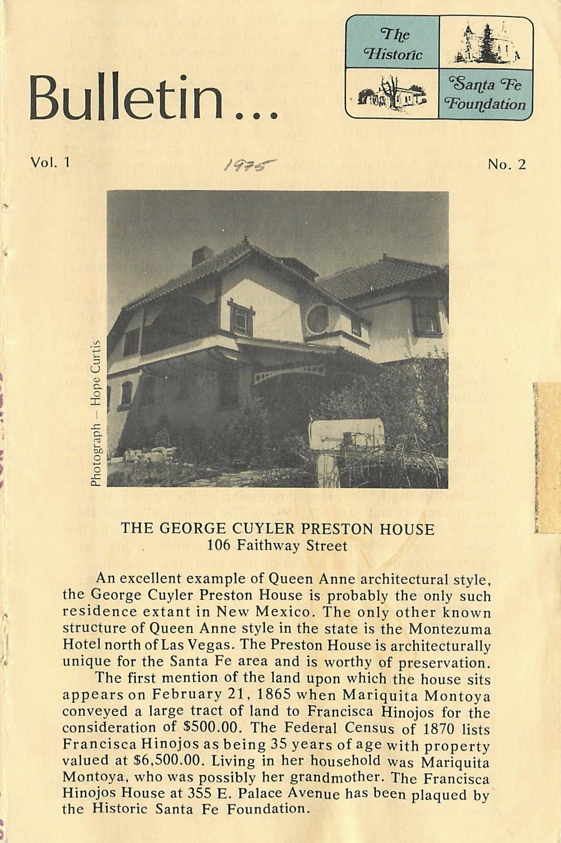 1975 HSFF Bulletin Vol.1 No.2 Cover