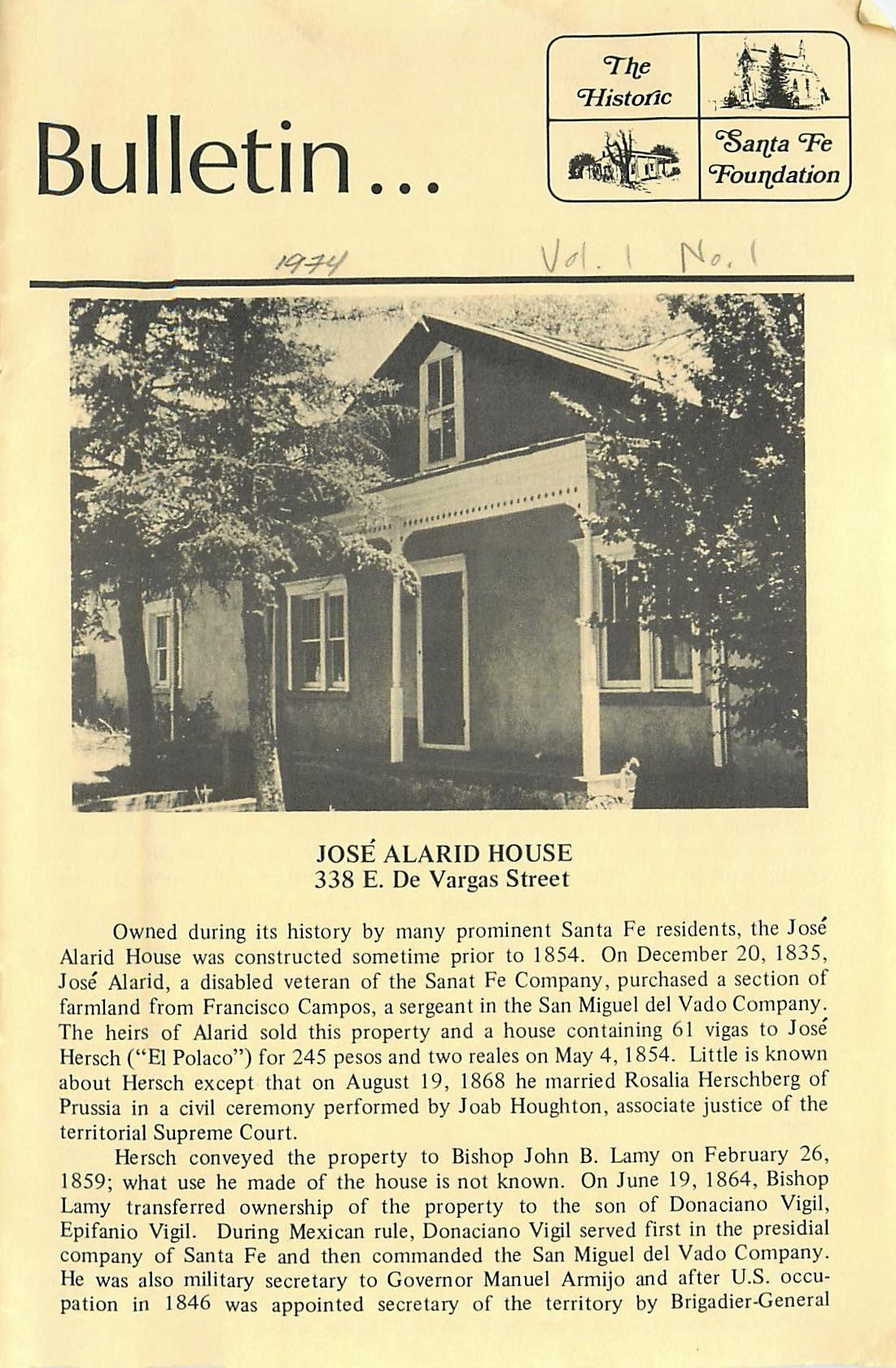 1974 HSFF Bulletin Vol.1 No.1 Cover