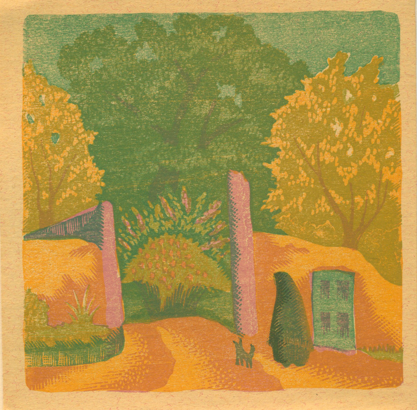 """Willard Clark  Spring Gate  Color Wood Engraving $800.00 IMAGE SIZE 4.5"""" x 4.5"""", MATTED AND FRAMED WC-32"""