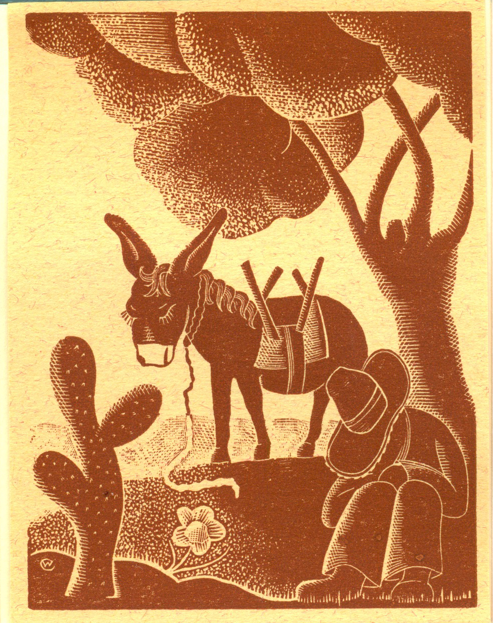 """Only 1 Available   Willard Clark  Man and Burro  Color Wood Engraving $500.00 IMAGE SIZE 4.25"""" x 3.25"""", MATTED AND FRAMED WC-35"""