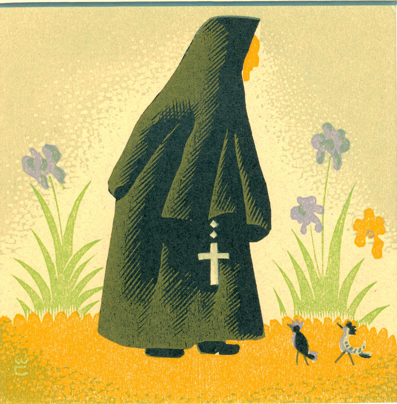 """Only 1 Available   Willard Clark  Carmelite nun walking  Color Wood Engraving $800.00 IMAGE SIZE 4.75"""" x 4.75"""", MATTED AND FRAMED WC-28"""