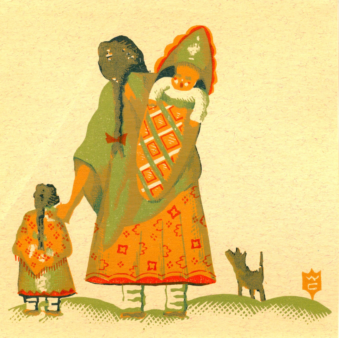 """Willard Clark  woman baby child dog  Color Wood Engraving $800.00 IMAGE SIZE 4.5"""" x 4.5"""", MATTED AND FRAMED WC-63A"""