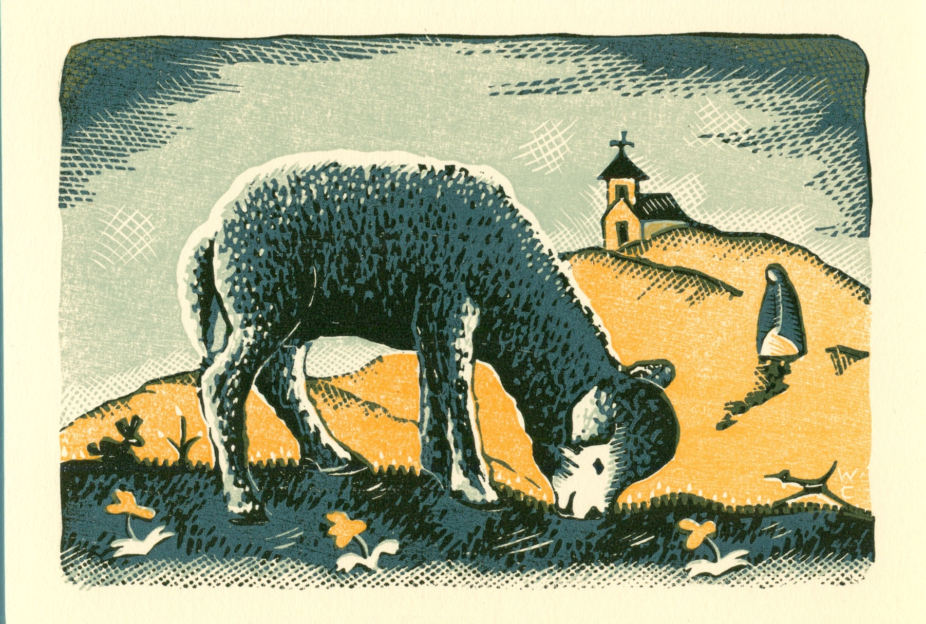 Sold out   Willard Clark  sheep grazing  Color Wood Engraving $400.00 WC-124