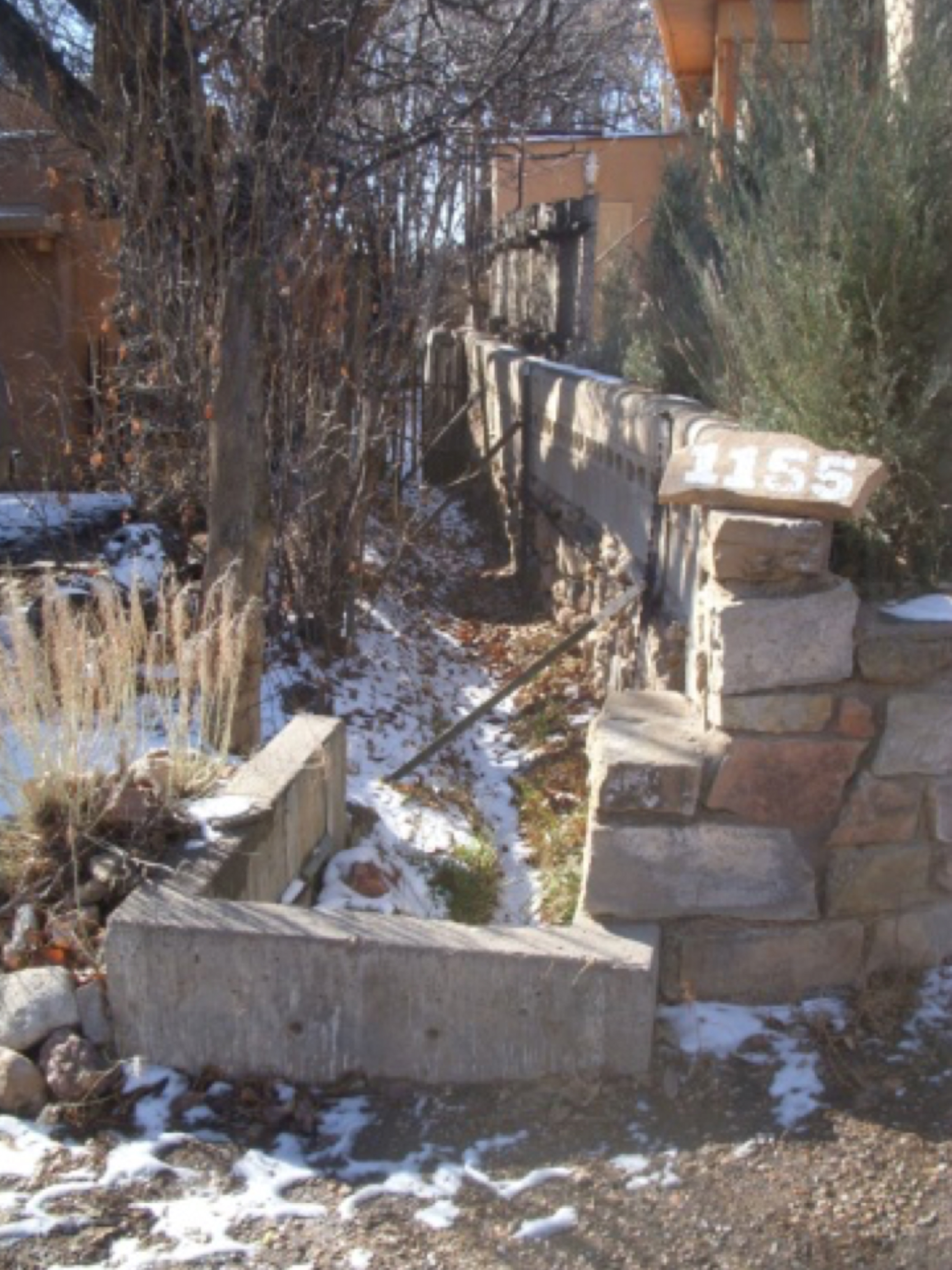 The acequia where it emerges from under the road opposite the bypass culvert.    photo by the Deborah and Jon Lawrence