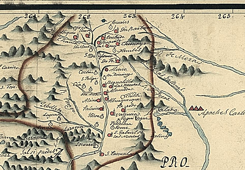 1776 Urrutia Map of northern Rio Bravo. Indicates the villages and missions along the Rio Grande and Chama rivers from San Pascual in the south to Abiquiu in the north.