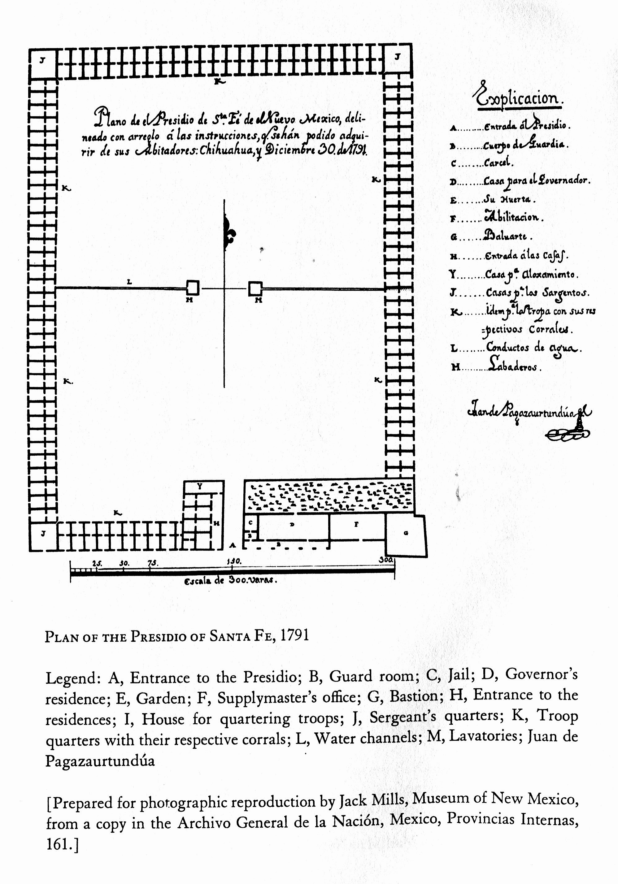 1791 Plan of the Presidio in Santa Fe. Discovered by Marc Simmons and published in his Spanish Government in New Mexico.