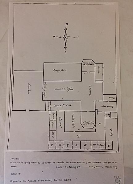 1816 Plan de la Iglesia Major. A very inaccurate floor plan of Santa Fe's Parroquia.