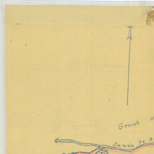 1877 Plat of the City of Santa Fe Grant. Survey of the city, with limits at one league from the Plaza, surveyed by Griffin and McMullen, deputy U./S. Surveyors, September, 1877.