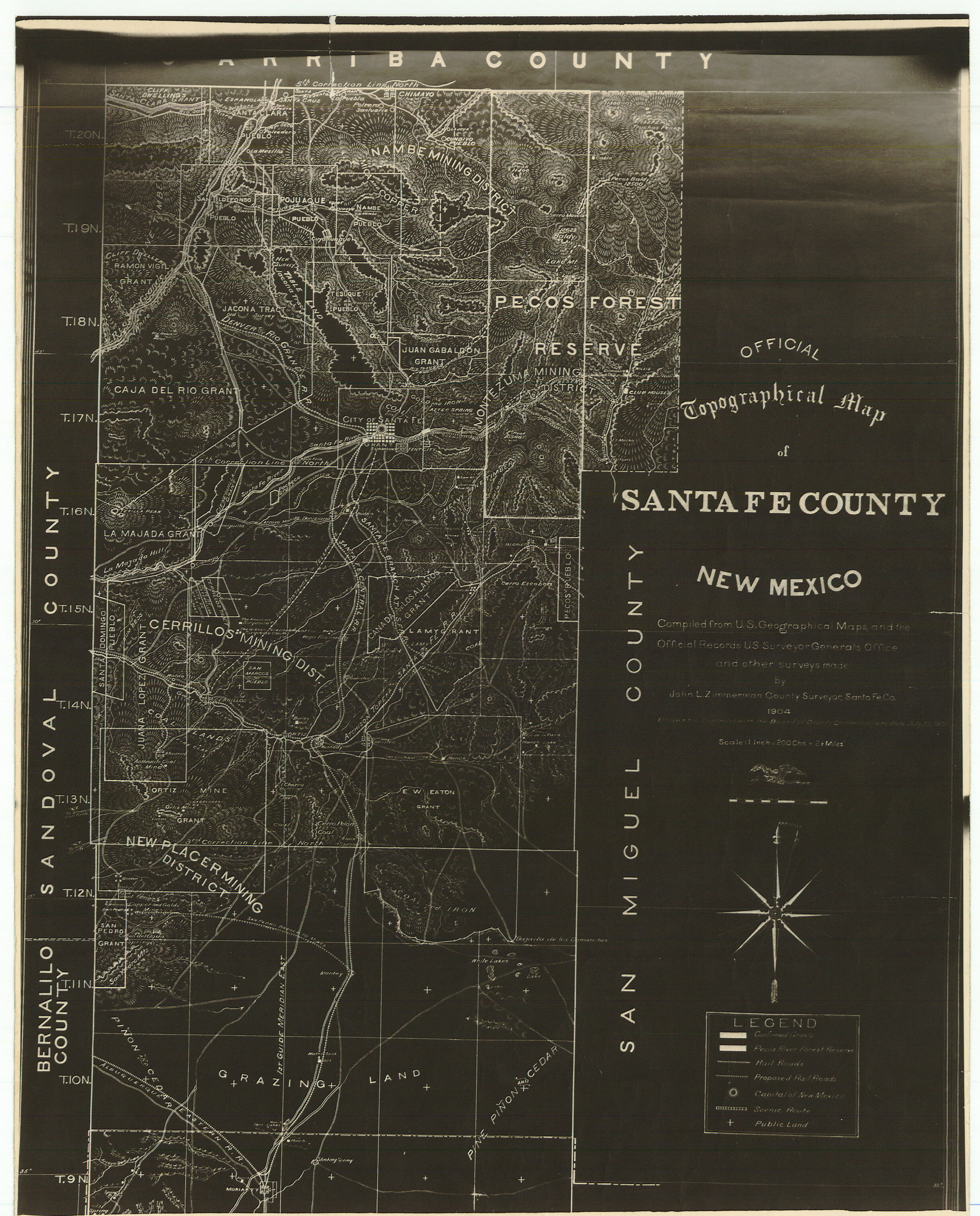 1904 Official Topographical Map of Santa Fe, New Mexico by John L. Zimmerman, County Surveyor. Shows mining districts, railroads and some grants in the county.