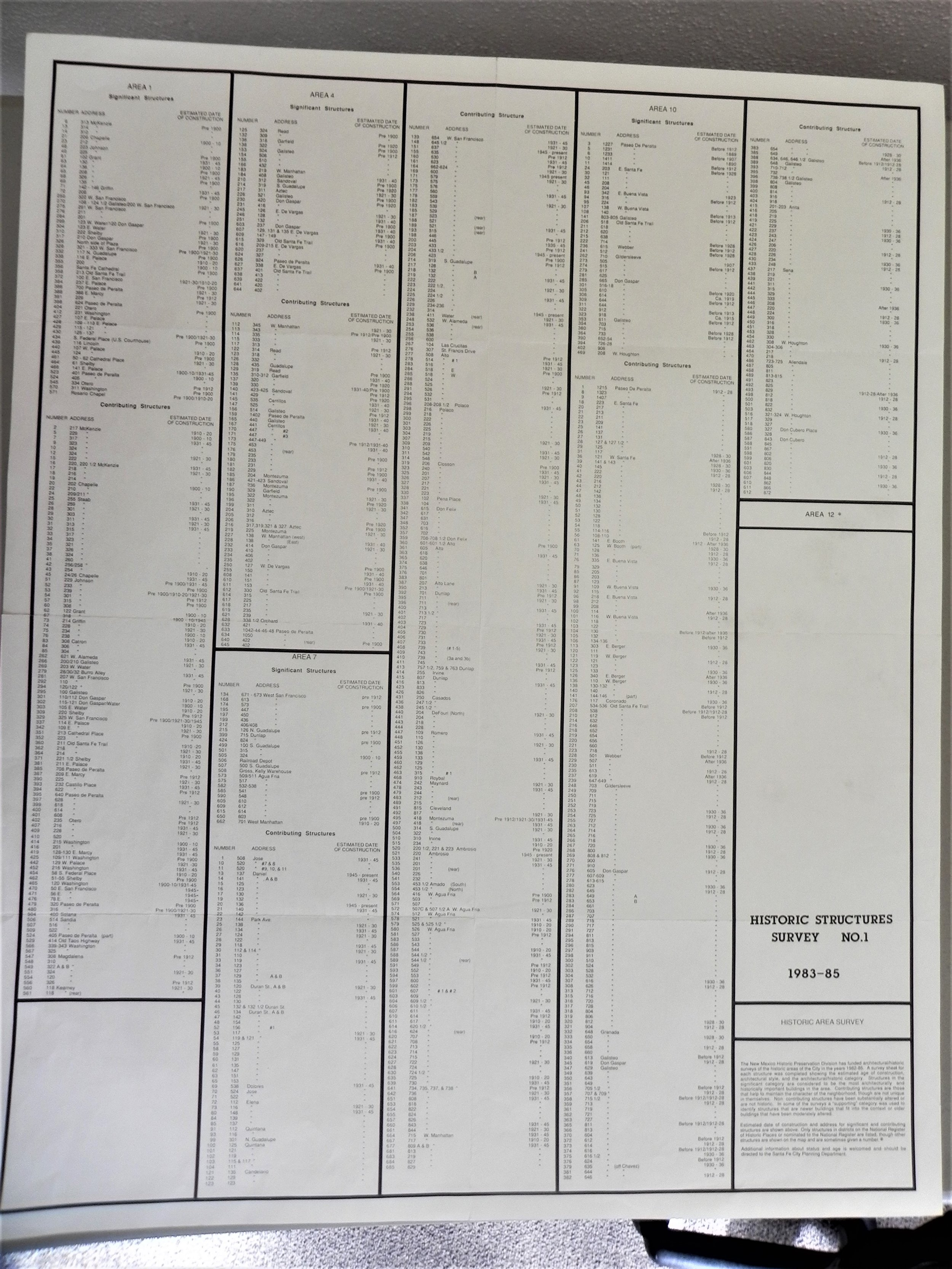 1983-85 City of Santa Fe Historic Structures Survey No.1 (back)