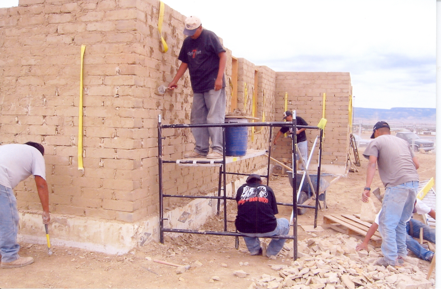 The Acoma construction crew building the compressed earth block house (2002)  Image courtesy of Cornerstones Community Partnerships