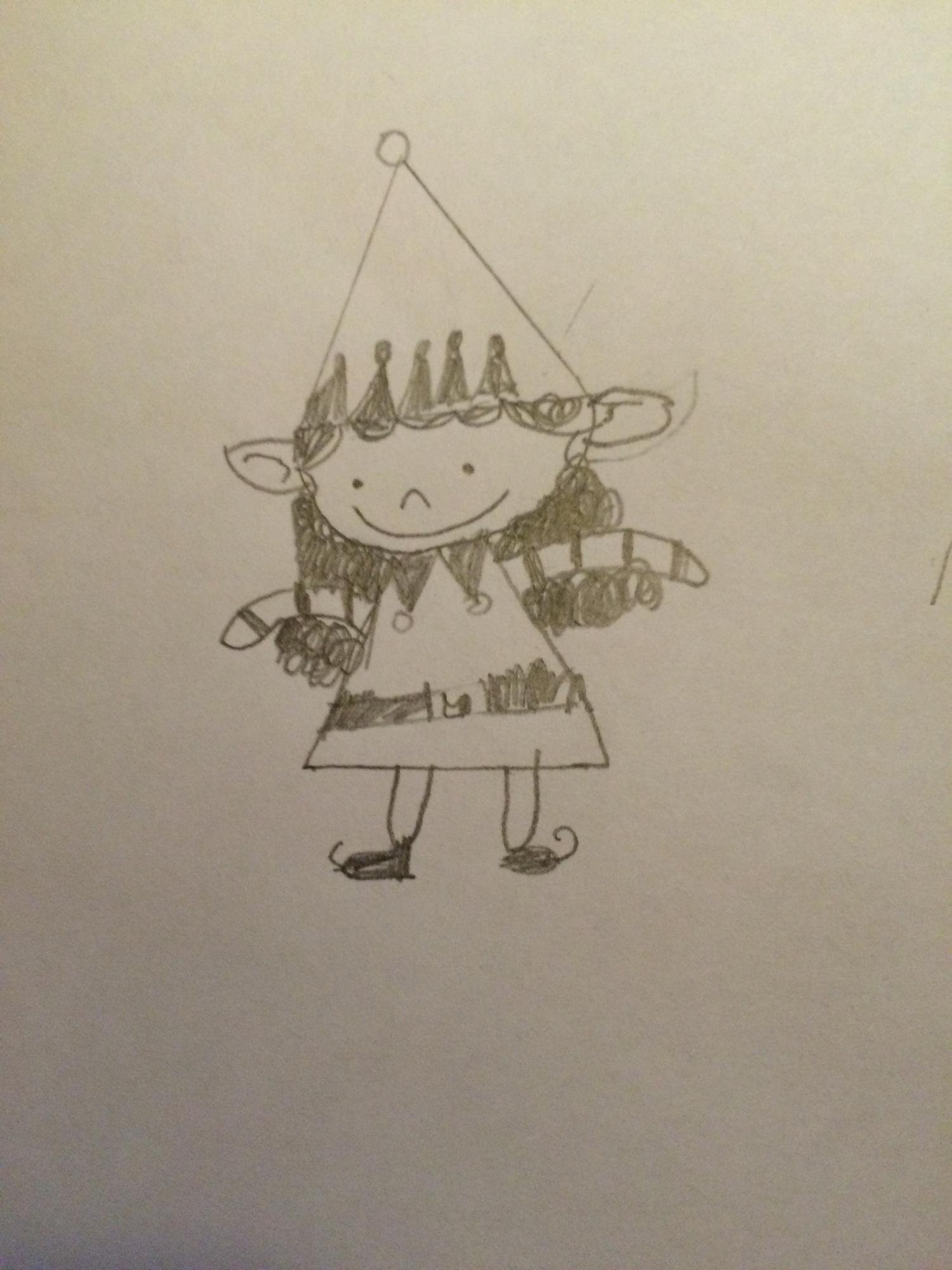 Scriberia drawing Christmas elves