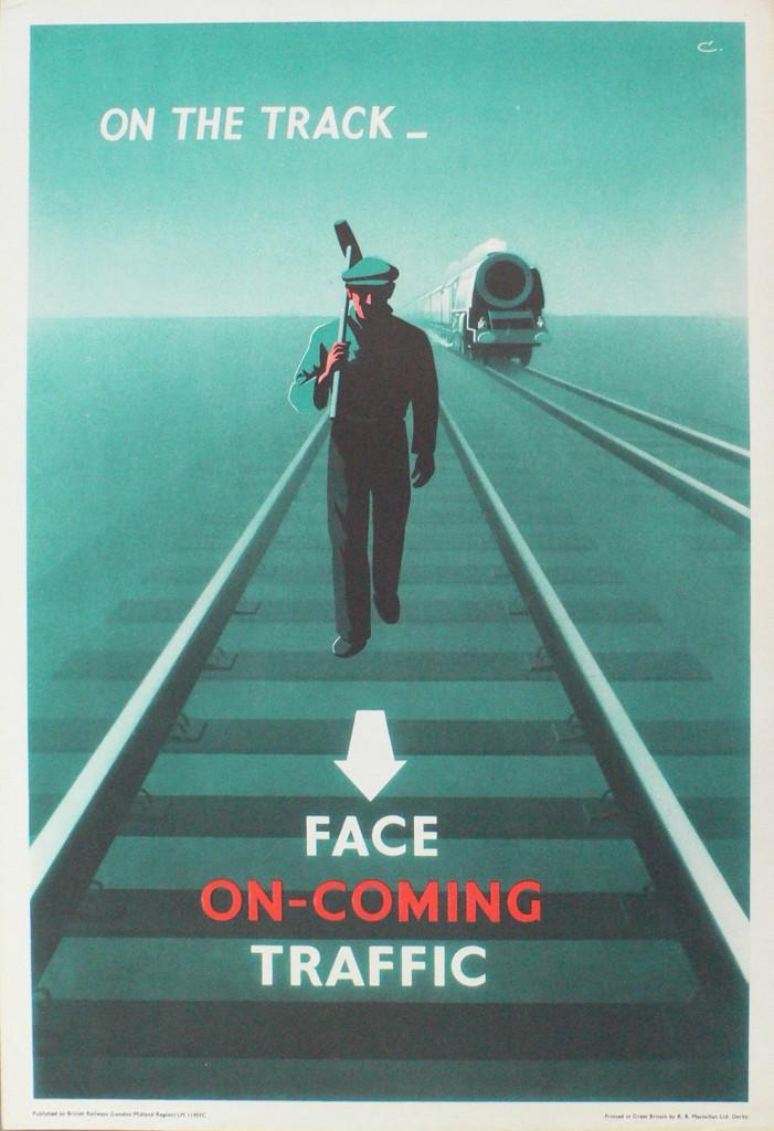 Scriberia Top 20th Century British Poster Designs Leonard Cusden Face On-coming Traffic