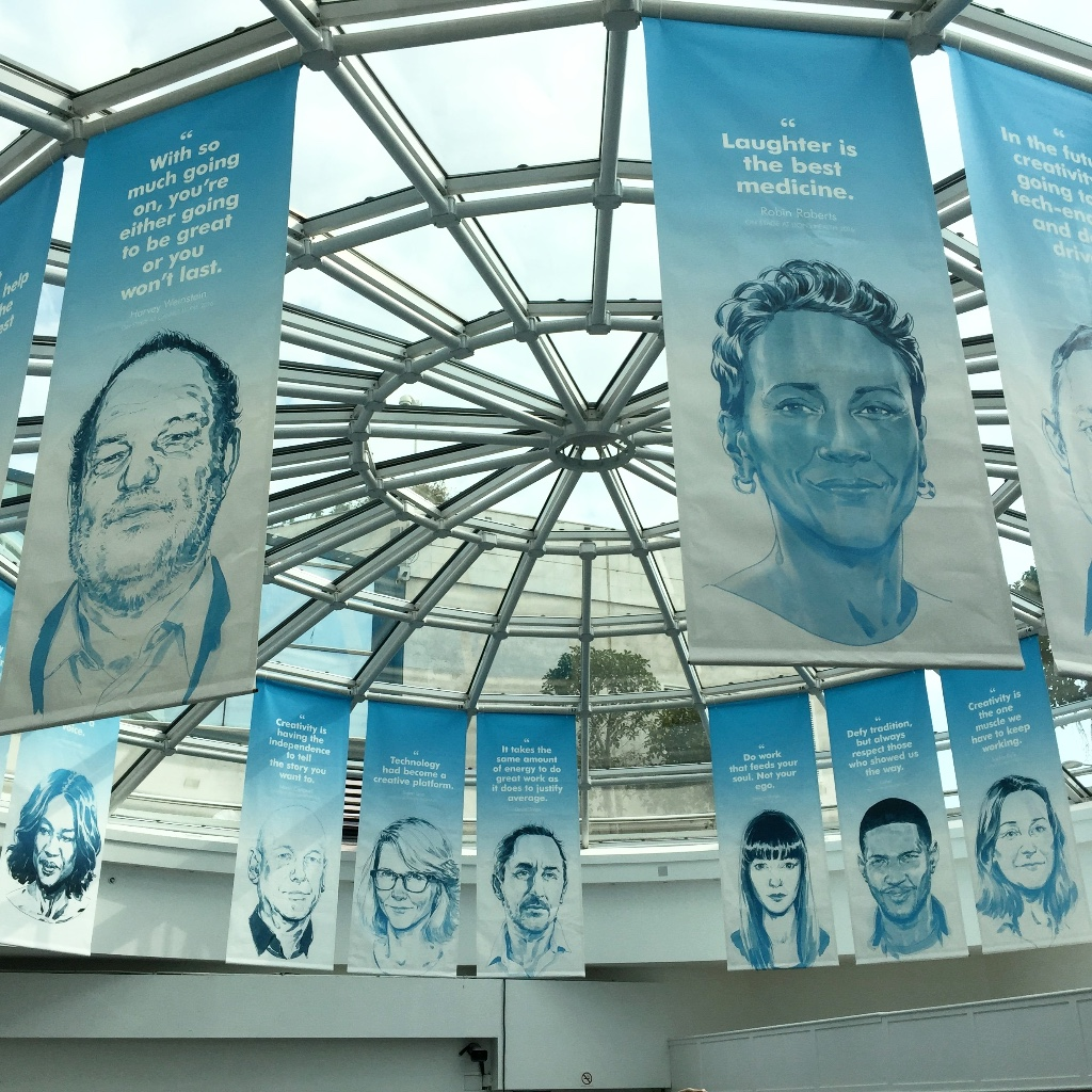 Cannes Lions is festooned with the illustrations of Scriberian Rupert Smissen Banners