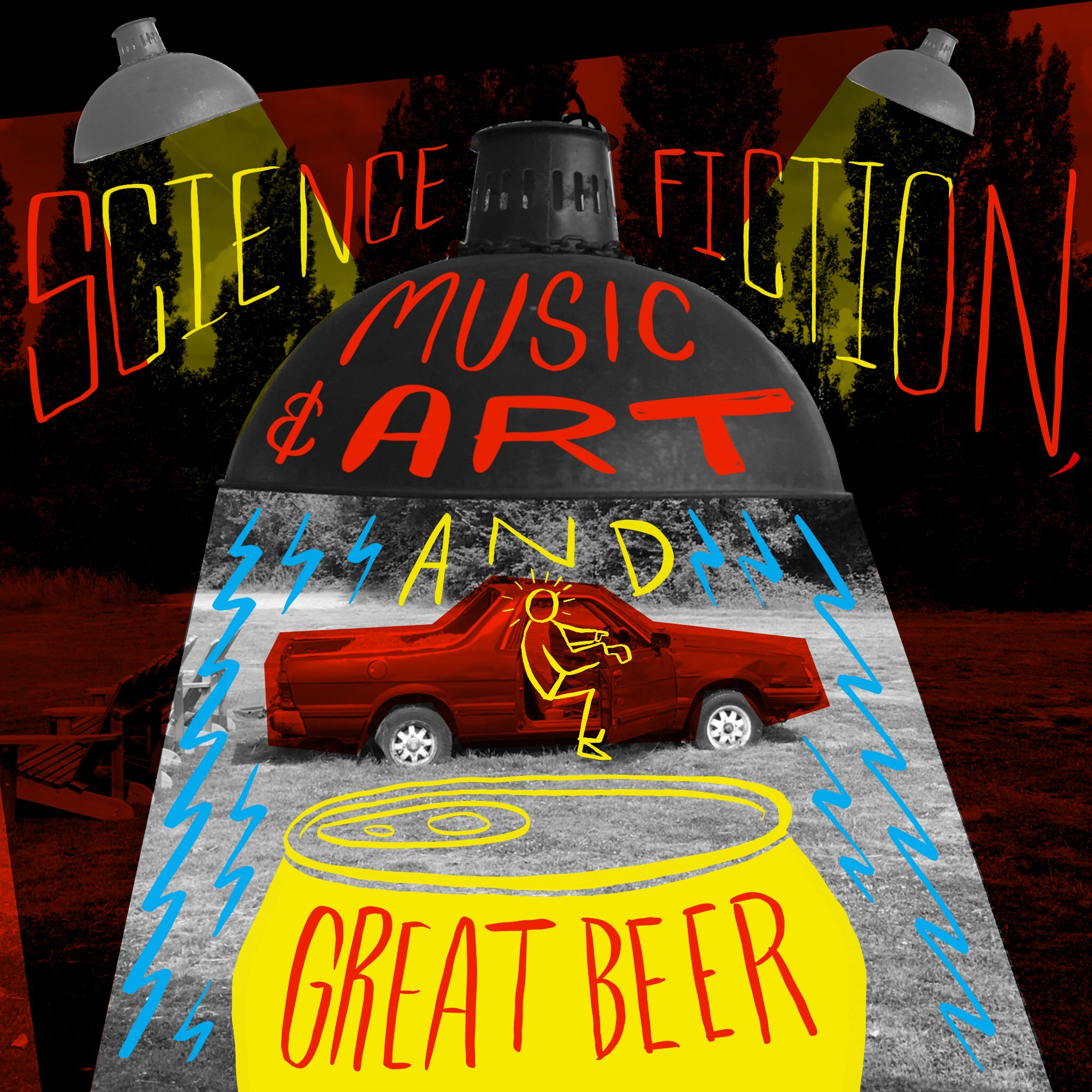 Scriberia OffGrid Sessions Illustration Postcard Science Fiction Music Art Beer