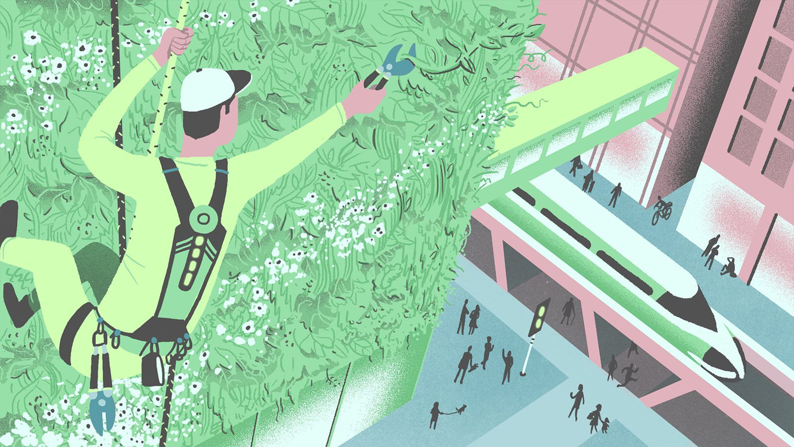 'Vertical Gardener' illustration taken from MR PORTER's piece, ' Six Jobs Of Tomorrow To Train For Today'