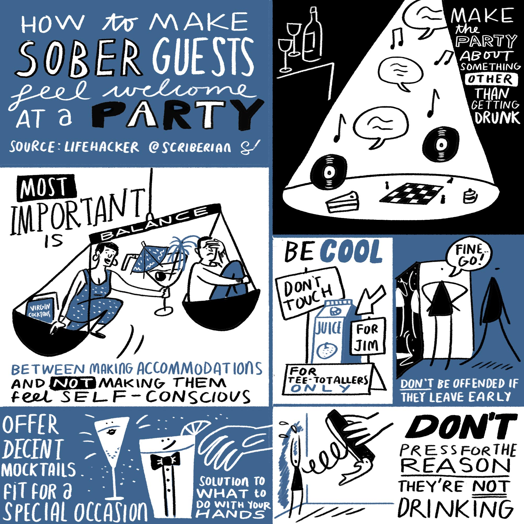 How to make sober guests feel welcome at a party. Source:  Lifehacker