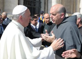 Rev. Michael Lorentsen with  Pope Francis in Rome, Italy.