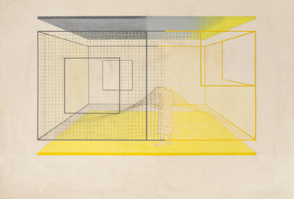 Arakawa and Madeline Gins,  Study for 'Critical Holder,'  1990. Acrylic, graphite, and color pencil on paper, 42 1/2 x 61 in.© 2018 Estate of Madeline Gins.Reproduced with permission of the Estate of Madeline Gins. Photo:Nicholas Knight. Courtesy of Columbia GSAPP.