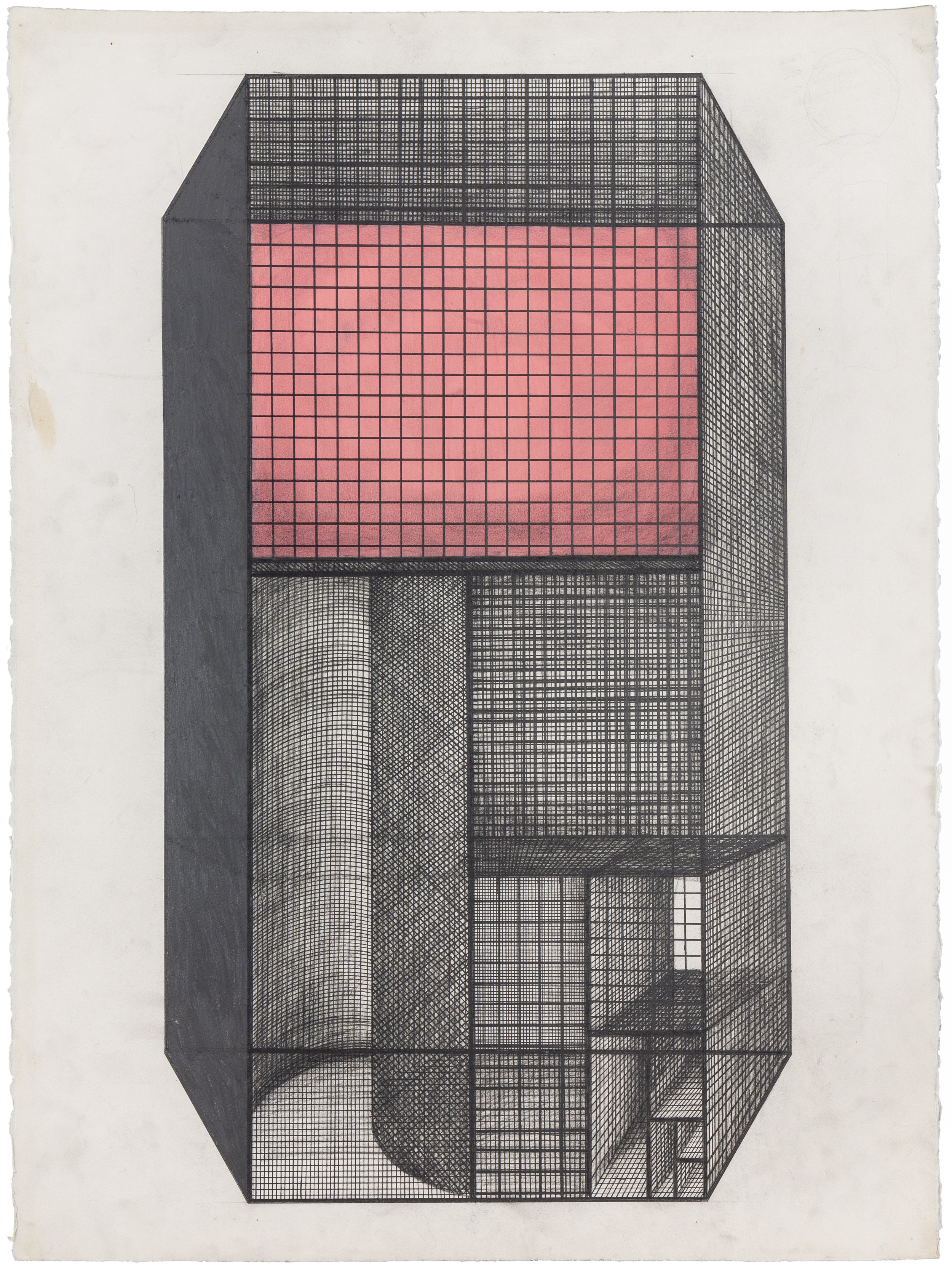 Arakawa and Madeline Gins,  Screen-Valve , 1985-87.Graphite and acrylic on paper, 30 x 22 1/2 in. © 2018 Estate of Madeline Gins. Reproduced with permission of the Estate of Madeline Gins.Photo:Nicholas Knight. Courtesy of Columbia GSAPP.
